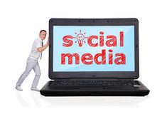 Laptop with social media Stock Photos