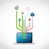 Laptop social media circuit diagram illustration Stock Photo