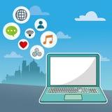 Laptop social media communication network city background. Vector illustration eps 10 Royalty Free Stock Image