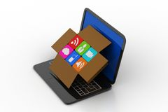Laptop with social media icons in a box Stock Photography