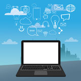 Laptop social media icons city bakcground. Vector illustration eps 10 Royalty Free Stock Photo