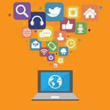 Laptop with social media icons Royalty Free Stock Images