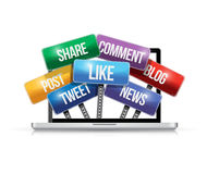Laptop with social media signs illustration Royalty Free Stock Images