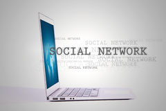 Laptop with social network. Royalty Free Stock Photos