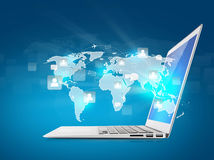 Laptop with social network on world Royalty Free Stock Image