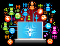 Laptop sociale netwerkzwarte stock illustratie