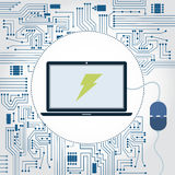 Laptop, socket and electronics circuit. Electronics circuit background. Laptop with a plug plugged in and lightning symbol on the monitor Royalty Free Stock Photo