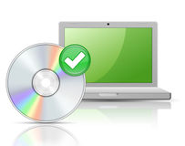 Laptop and Software Disk. Software. Laptop and Software Disk with reflections stock illustration
