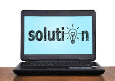 Laptop with solution Royalty Free Stock Image