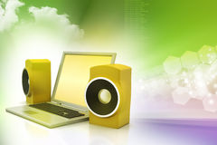 Laptop and sound system Stock Image
