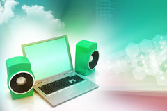 Laptop and sound system Royalty Free Stock Photography