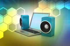 Laptop and sound system Stock Photos
