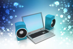 Laptop and sound system Stock Photo
