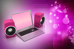 Laptop and sound system Royalty Free Stock Image