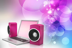 Laptop and sound system Royalty Free Stock Photo