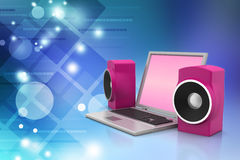 Laptop and sound system Stock Images