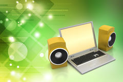 Laptop and sound system Royalty Free Stock Images