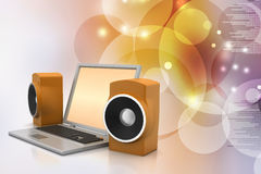 Laptop and sound system Royalty Free Stock Photos
