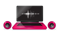 Laptop with speakers, online music Stock Photos