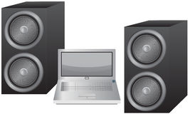 Laptop and Speakers Stock Photo