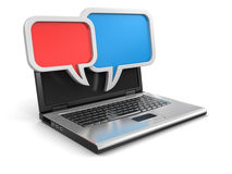 Laptop and speech bubbles (clipping path included) Royalty Free Stock Photography