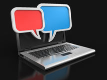 Laptop and speech bubbles (clipping path included) Stock Image