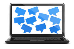 Laptop with speech  bubbles. On screen  on white. 3d rendered image Royalty Free Stock Photo