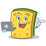 With laptop sponge cartoon character funny stock illustration