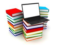 Laptop on stack of books. 3d image renderer Stock Images