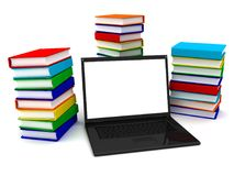 Laptop on stack of books. 3d image renderer Royalty Free Stock Photography