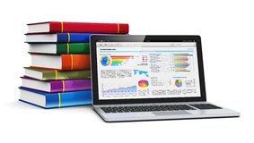 Laptop and stack of color books. Mobile knowledge, school or college education, business office work and electronic media concept: laptop or notebook with Royalty Free Stock Images