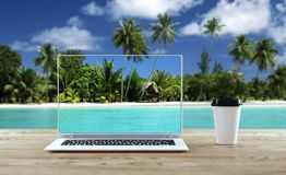Laptop stands on wooden table outdoors. Remote office concept. 3d illustration. Mockup stock illustration