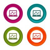 Laptop stats icons. Monitoring signs. Analytics symbol. Colorful web button with icon.  stock illustration