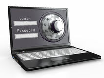 Laptop with steel security lock. Password vector illustration