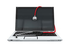 Laptop with Stethoscope. Isolated on white background. 3D render Stock Photos