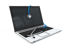 Laptop with Stethoscope. Isolated on white background. 3D render Royalty Free Stock Photography