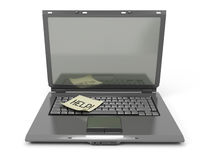 The laptop with a sticker on the keyboard Stock Images