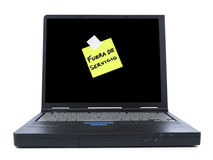Laptop with sticky note Royalty Free Stock Images
