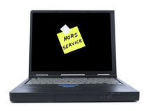 Laptop with sticky note Stock Photos