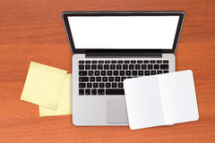 Laptop and Sticky Posts and Note Book Royalty Free Stock Images