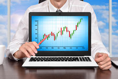 Laptop with Stock Chart Royalty Free Stock Images