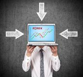 Laptop with stock chart Royalty Free Stock Photography