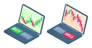 The laptop with stock quote candlestick graphs on the screen. The drop and the growth in the shares trends. The trader`s computer, selling, buying buttons Stock Image