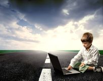 Laptop on the street Royalty Free Stock Photo