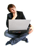 Laptop student. Youth student laptop, relaxed business or school work or uiniversity student. Boy teenager in suit and jeans isolated on  white thinking, solve a Royalty Free Stock Image