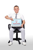 Laptop with success Stock Photo