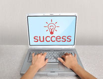 Laptop with success Royalty Free Stock Photos
