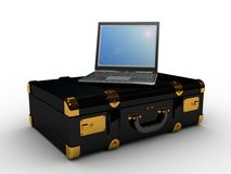 Laptop in the suitcase Royalty Free Stock Photo