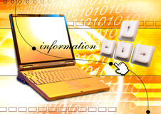 Laptop superimposed on a background Royalty Free Stock Photo