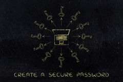 Laptop surrounded by keys with arrows, safe passwords Royalty Free Stock Image